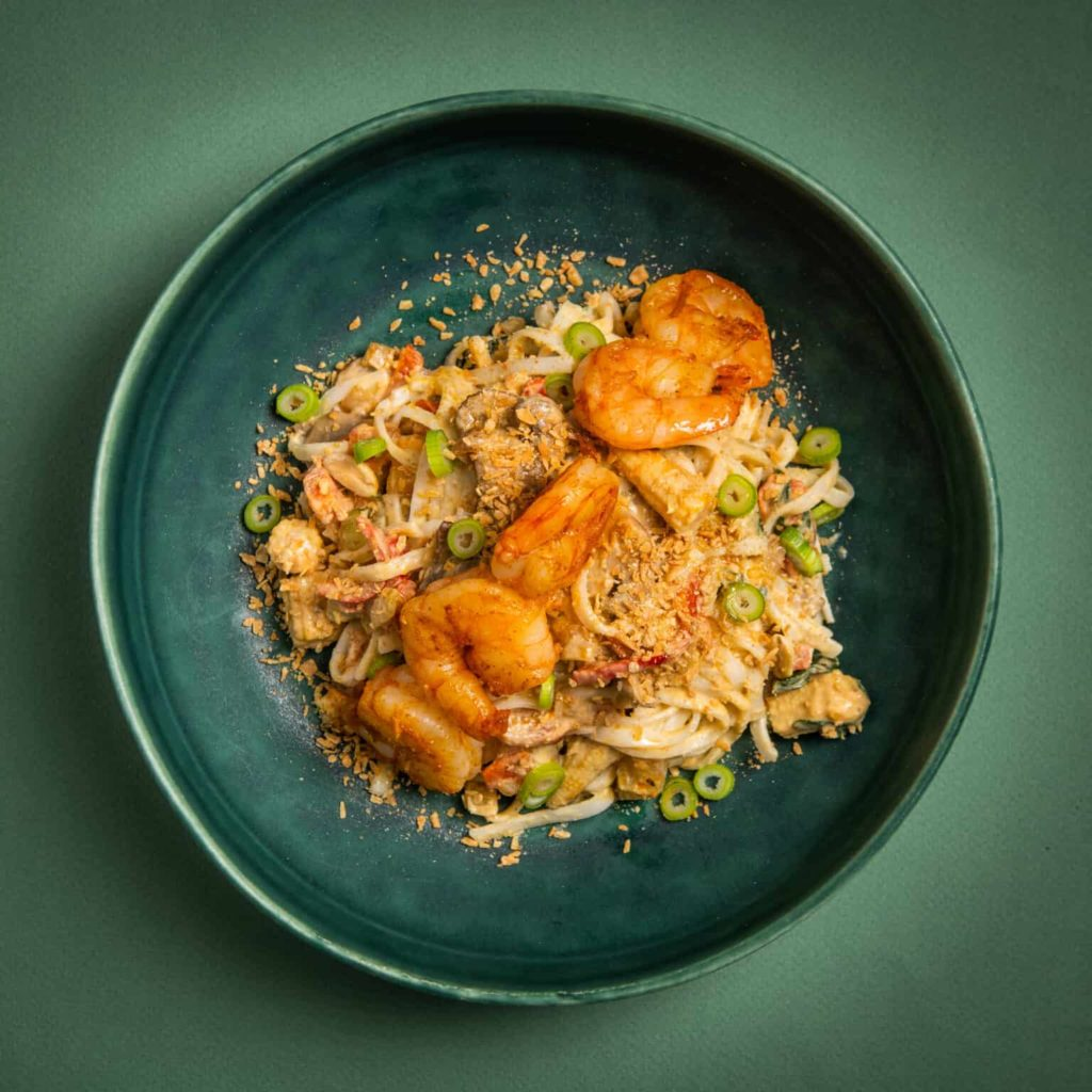 Green curry noedels scampi